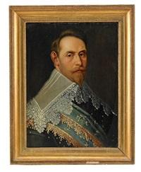 porträtt av gustav ii adolf iklädd rustning, guldbroderad mantel och spetskrage, bröstbild by jakob van der dort