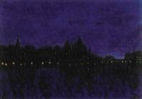 nattlig vy från waldemarsudde - stockholm by rikard lindström