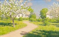 gårdsplan med blommande körsbärsträd by johan fredrik krouthen