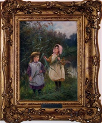 2 girls gathering reeds by william hooper