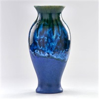 vase with flared rim in matte blue by fulper pottery