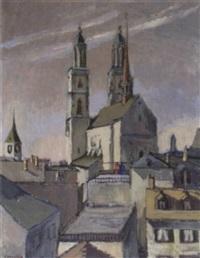 sicht auf grossmünster und peterskirche by cornelia forster
