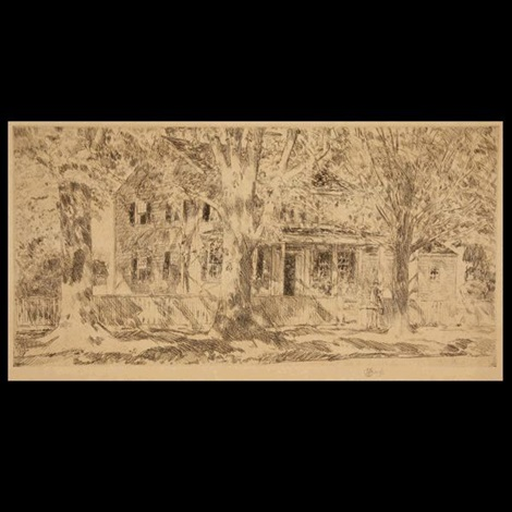 house on main street, east hampton by childe hassam