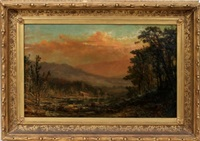 landscape with a house by hudson river school