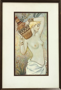 nude carrying decorated jug by sergei smirnov
