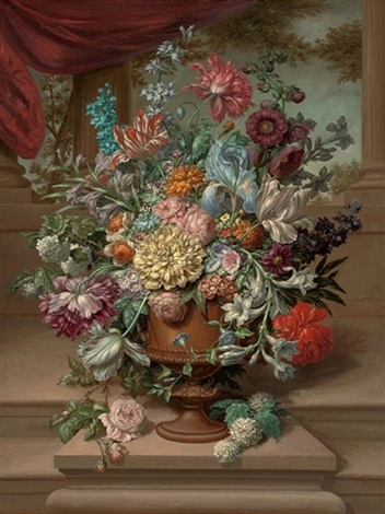 parrot tulips carnations morning glory narcissi and other flowers in an urn on a plinth by a partly draped colonnade by jan frans van dael