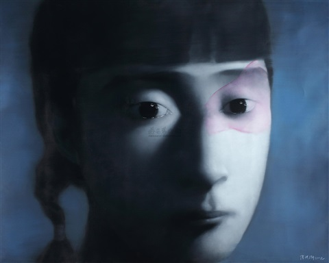 深蓝色背景下的女孩 girl in the deep blue by zhang xiaogang