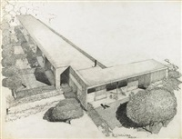 architectural drawing for the experimental unit, corona avenue school, bell, ca by richard neutra