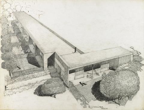 architectural drawing for the experimental unit corona avenue school bell ca by richard neutra
