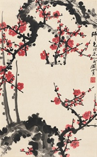 红梅图 (red plum blossom) by guan shanyue