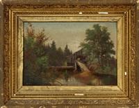 landscape with bridge by edward hill