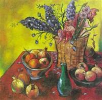 bodegon de granadas y flores by raoul angiano