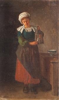 junge frau in tracht beim anzünden einer laterne by hermanus-franciscus van den anker