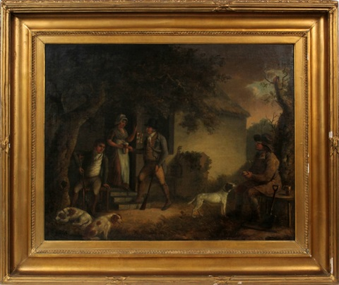 men resting at cottage with woman and dog by george morland