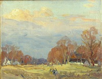 autumn landscape (+ another; pair) by george a. renouard