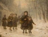 kinder im schnee – heimkehr von der schule by antony serres