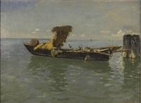 fischerboot in der lagune von venedig by julius friedrich ludwig runge
