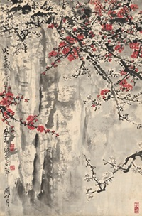 峭壁雪梅图 (plum blossom on cliff) by guan shanyue