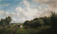 weite holländische weidelandschaft bei haarlem. auf dem weg ein bauer mit seiner kuhherde, rechts im dickicht ein jäger by willem vester