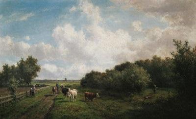 weite holländische weidelandschaft bei haarlem auf dem weg ein bauer mit seiner kuhherde rechts im dickicht ein jäger by willem vester