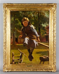 girl on seesaw by john george brown