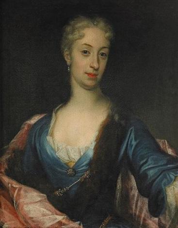 porträtt av oidentifierad dam iklädd djupblå klänning med pälsbräm och röd mantel midjebild by david richter the younger