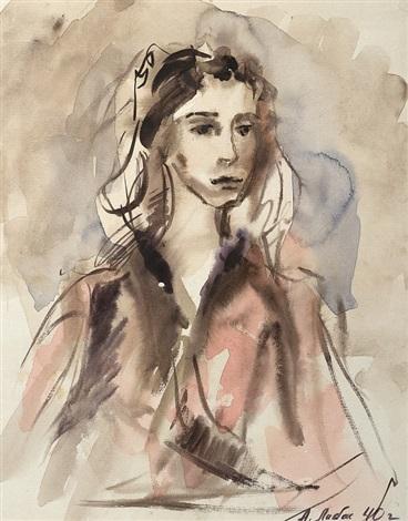 porträt einer jungen frau by alexandre arkadevich labas