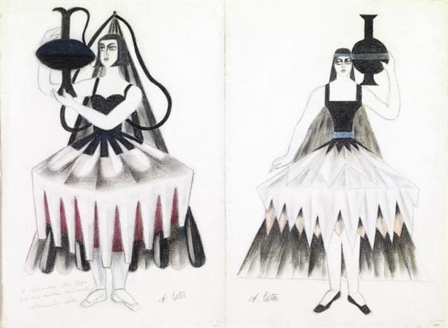 kostüme für eine orientalische ballerina mit krug 2 designs by alexandra exter