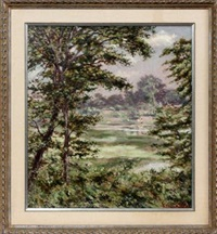 landscape with trees & water by hugo melville fisher
