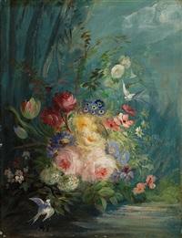 stillleben mit blumen und vögeln (pair) by jean alexandre rémy couder