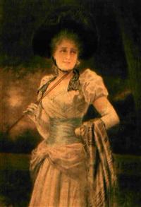 junge dame in elegantem kostüm by jose llovera bofill
