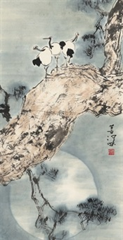 松鹤图 (crane on pine tree) by yang shanshen