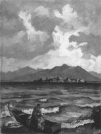 fischer mit seinem kahn am ufer, im hintergrund die fraueninsel by willy weber