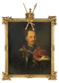 porträtt av kung stanislas leszczynski iklädd harnesk och hermelinbrämad mantel, midjebild by johann david swartz
