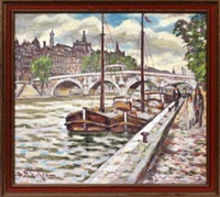 city river scene with brisge by hugo melville fisher