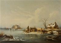 winterlandschaft mit zugefrorenem see, pferdeschlitten und menschengruppe by frederik michael ernst fabritius de tengnagel