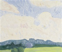 wolkenhimmel. wiese mit bäumen und bergrücken unter wolkenhimmel by bruno hesse