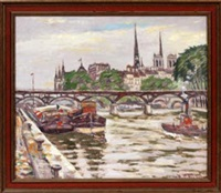 cityscape with river, bridge & boats by hugo melville fisher