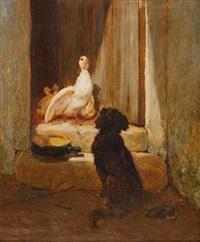 hund, eine gänsefamilie beobachtend by leon-antoine-lucien couturier