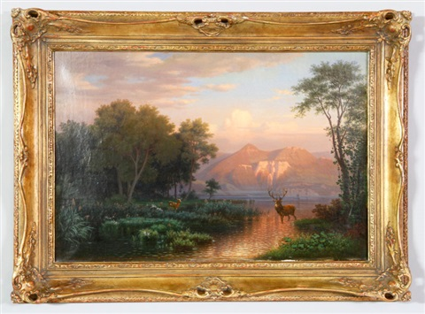 landscape with forest and mountains lake and deer by hermann herzog