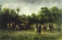 joueurs de boules bretons by adolphe pierre leleux