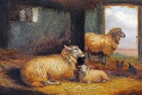 sheep in pasture (+ sheep in a stable; pair) by arthur jackson