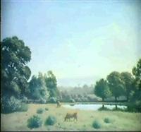 teichlandschaft mit zwei kuhen by ernest emile armand-delille