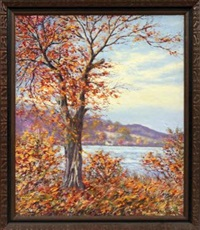 fall landscape with water by hugo melville fisher