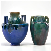two-handled urn by fulper pottery