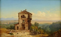 vue af romerska campagnan by gustaf wilhelm palm