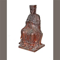a seated figure of a chinese emperor by anonymous-asian