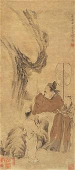 米芾拜石图 (character) by jiang lian