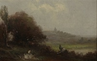 landschaft mit personen (+ another, similar; 2 works) by gabriel hippolyte le bas