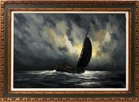 sailboat in the moonlight by toon koster